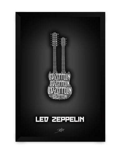 Framed Poster | Led Zeppelin Guitar Matte Laminated Framed Poster PosterGuy.in