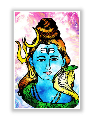 Buy Art Posters Online | Lord Shiva Graphic Illustration Poster | PosterGuy.in