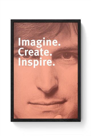 Imagine Create Inspire | Steve Jobs Motivational Framed Poster Online India