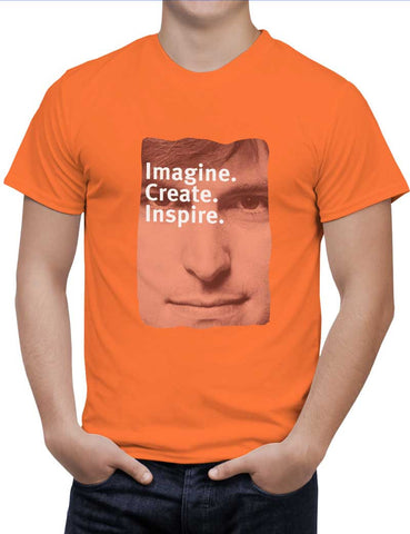Buy Imagine Create Inspire | Steve Jobs Motivational Woman T-Shirts Online India | Imagine Create Inspire | Steve Jobs Motivational T-Shirt | PosterGuy.in