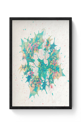 Framed Posters Online India | Abstract Holiday Leaves Laminated Framed Poster Online India