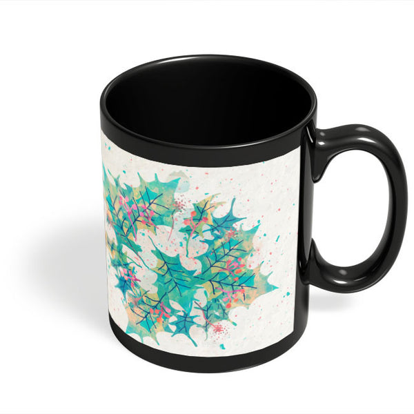 Coffee Mugs Online | Abstract Holiday Leaves Black Coffee Mug Online India