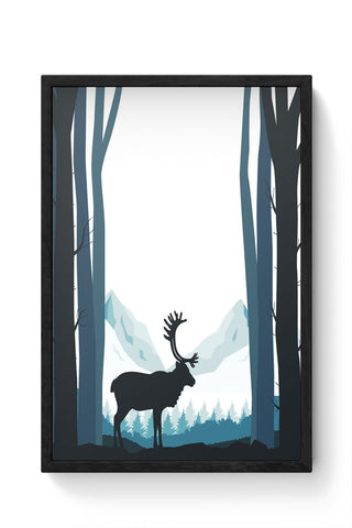 Framed Posters Online India | Reindeer In Snow Illustration Laminated Framed Poster Online India