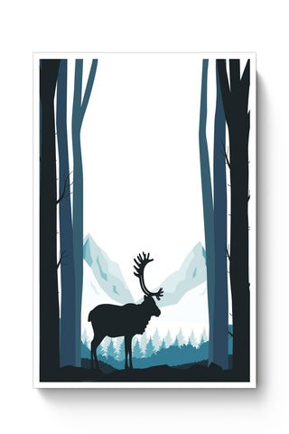Posters Online | Reindeer In Snow Illustration Poster Online India | Designed by: Divya Goel