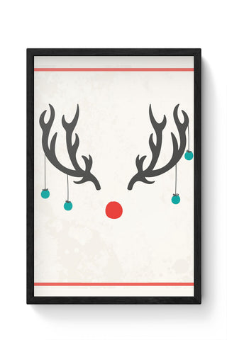 Framed Posters Online India | Minimalist Reindeer Christmas Laminated Framed Poster Online India