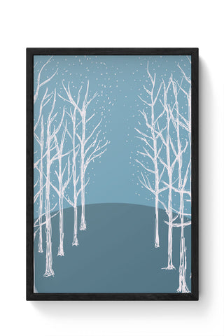 Framed Posters Online India | Winter Trees Illustration Laminated Framed Poster Online India