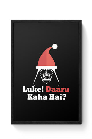 Framed Posters Online India | Luke ! Daru Kaha Hai | Dark Darth Santa Laminated Framed Poster Online India