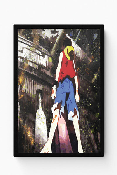 Framed Posters Online India | Luffy In Fire | One Piece Laminated Framed Poster Online India