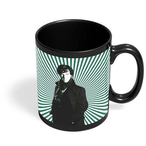 Sherlock Holmes Illustration Black Coffee Mug