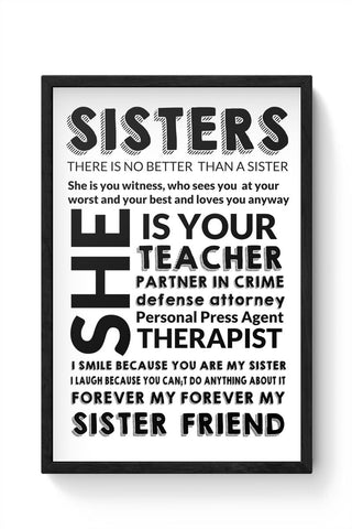 Sister Descriptiion From A Brother Framed Poster Online India