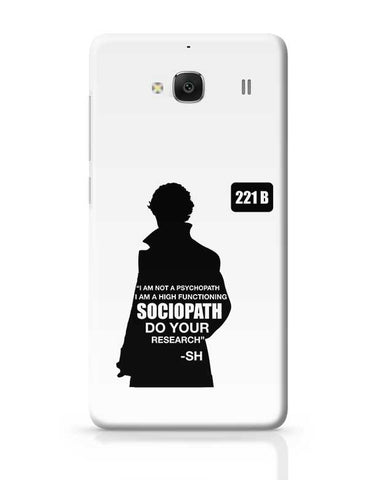 Not a Pshychopath | High Functioning Sociopath | Sherlock Holmes Redmi 2 / Redmi 2 Prime Covers Cases Online India