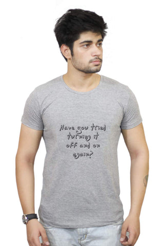 Buy Funny T-Shirts Online India | Nasscom 10000 Startups 'turn It Off And On' T-Shirt Funky, Cool, T-Shirts | PosterGuy.in