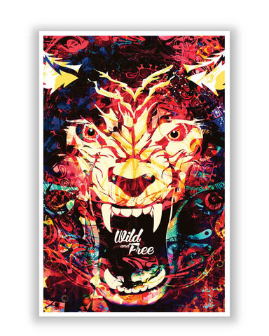 Posters | Wild And Free Quirky Tiger Illustration Poster Online India