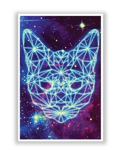 Posters Online | Cushy Cat Universe in Sky Quirky Poster Online India | Designed by: Pankaj Bhambri