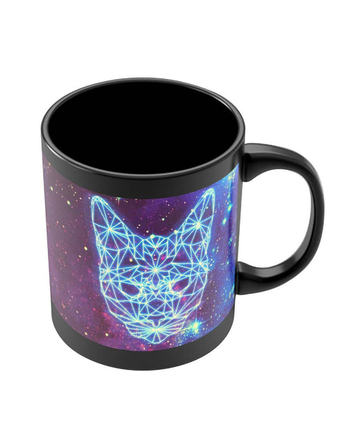 Coffee Mugs Online | Cushy Cat Universe in Sky Quirky Black Coffee Mug Online India