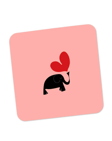 Buy Coasters Online | The Pink Elephant Minimalist Art Coaster Online India | PosterGuy.in