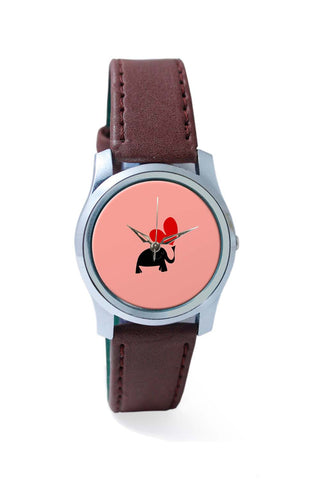 Women Wrist Watches India | The Pink Elephant Minimalist Art Wrist Watch Online India