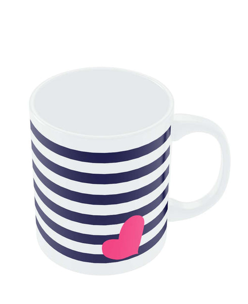 Coffee Mugs Online | Love Strip Pattern(Blue) Mug Online India