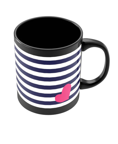 Coffee Mugs Online | Love Strip Pattern(Blue) Black Coffee Mug Online India