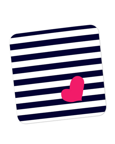 Buy Coasters Online | Love Strip Pattern(Blue) Coaster Online India | PosterGuy.in