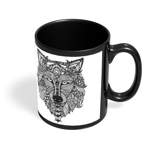 Coffee Mugs Online | Zen Wolf Black Coffee Mug Online India