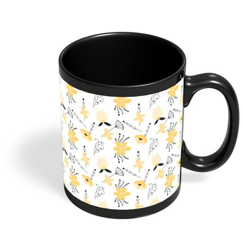 Elegant Flower Pattern Black Coffee Mug Online India