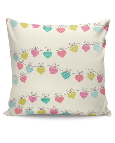 Valentines Hanging Hearts Cushion Cover Online India