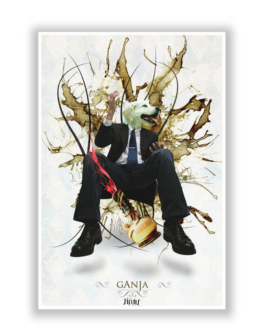 Buy Quirky Posters Online | Dog's Face on Man's Body Ganja Design Poster | PosterGuy.in