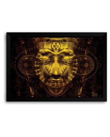 Framed Posters | Lord Buddha Warm Golden Laminated Framed Poster Online India