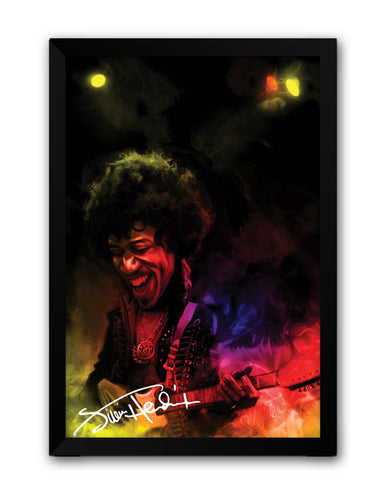 Framed Posters | Jimi Hendrix Quirky Abstract Painting Laminated Framed Poster Online India