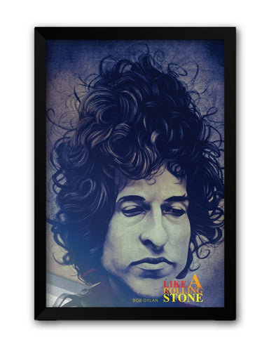 Framed Posters | Like a Rolling Stone Bob Dylan Blue Laminated Framed Poster Online India