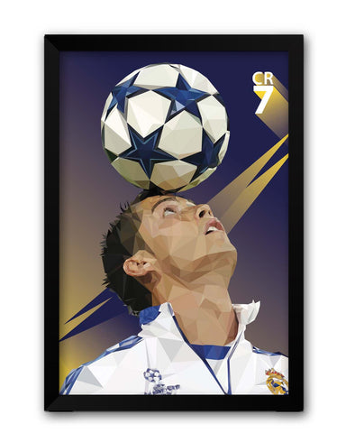 Framed Posters | Pixelated Ronaldo Graphic Illustration Laminated Framed Poster Online India