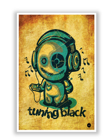 Posters | Tuning Black Golden Background Illustration Poster Online India