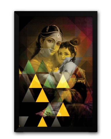 Framed Posters | Yasodha And Krishna Laminated Framed Poster Online India