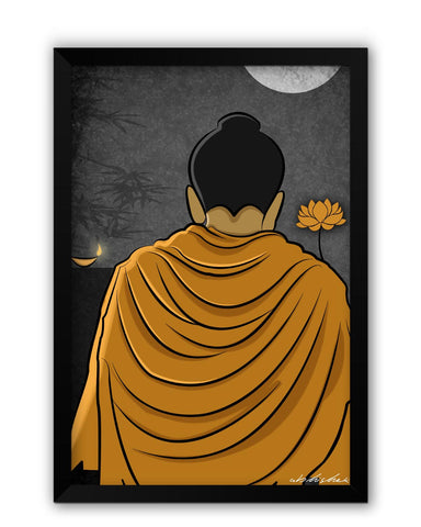 Framed Posters | Lord Buddha Back Laminated Framed Poster Online India