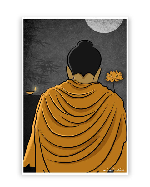 Posters Online | Lord Buddha Back Poster Online India | Designed by: GraphiKartoon