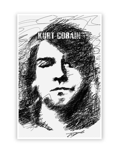 Posters Online | Kurt Cobain Sketch Illustration Poster Online India | Designed by: GraphiKartoon