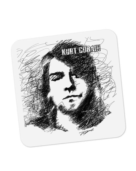 Buy Coasters Online | Kurt Cobain Sketch Illustration Coaster Online India | PosterGuy.in
