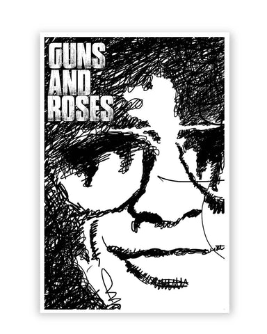 Posters Online | Guns And Roses Graphic Art Poster Online India | Designed by: GraphiKartoon