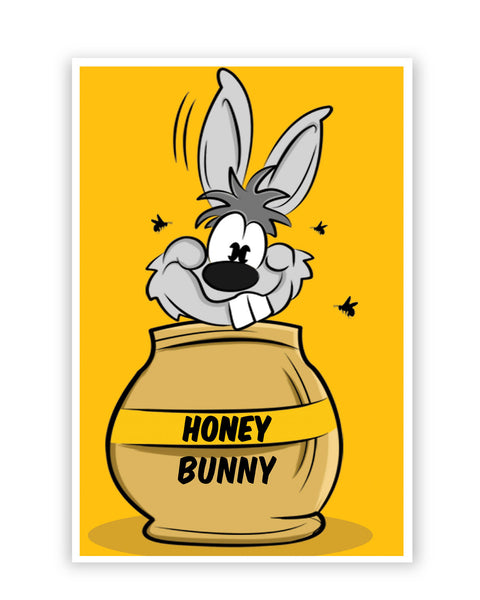 Posters Online | Honey Bunny Funny Rabbit Graphic Cartoon Poster Online India | Designed by: GraphiKartoon