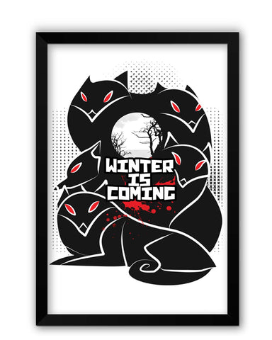 Framed Posters | Winter Is Coming | Animated Direwolves Illustration Laminated Framed Poster Online India