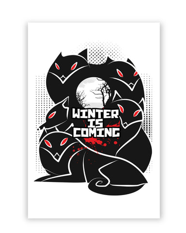 Posters Online | Winter Is Coming | Animated Direwolves Illustration Poster Online India | Designed by: GraphiKartoon