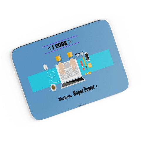 I Code | What's your Superpower? (Blue) A4 Mousepad Online India