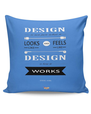 PosterGuy | Design is How It Works | Steve Jobs Quote Cushion Cover Online India
