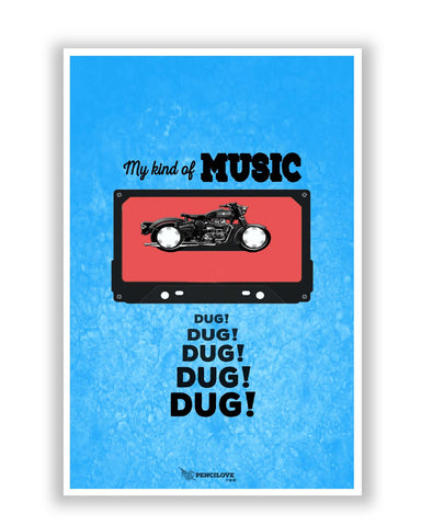 Posters Online | My Kind Of Music | Royal Enfield Poster Online India | Designed by: PenciLove
