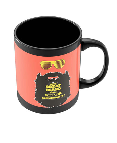 Coffee Mugs Online | With Great Beard Comes Great Responsibility Black Coffee Mug Online India