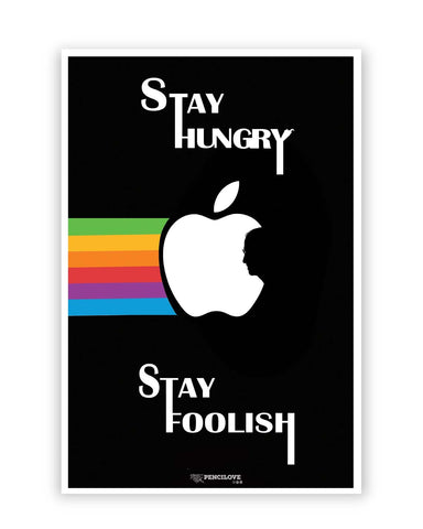Posters Online | Stay Hungry Stay Foolish | Steve Jobs in Apple Logo Poster Online India | Designed by: PenciLove