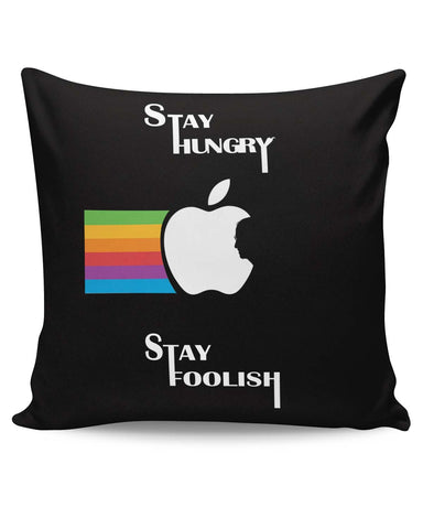 PosterGuy | Stay Hungry Stay Foolish | Steve Jobs in Apple Logo Cushion Cover Online India