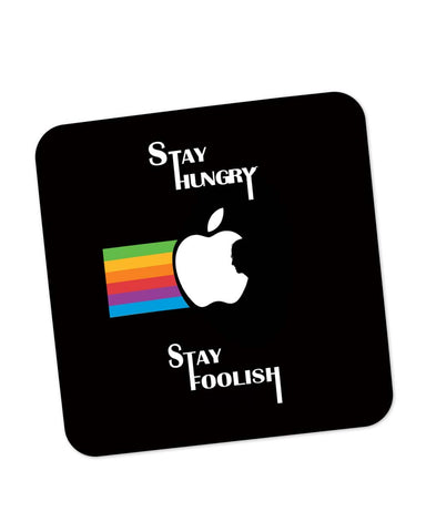 Buy Coasters Online | Stay Hungry Stay Foolish | Steve Jobs in Apple Logo Coaster Online India | PosterGuy.in