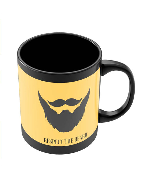 Coffee Mugs Online | Respect The Beard Black Coffee Mug Online India